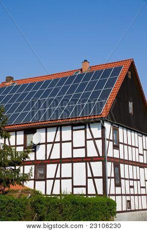 Solar panels on an old house
