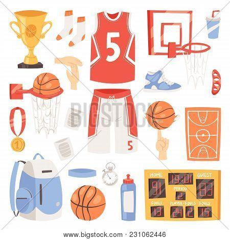 Basketball Vector Sportswear And Ball In Net Hoop On Basketball Court Illustration Set Of Sportsman