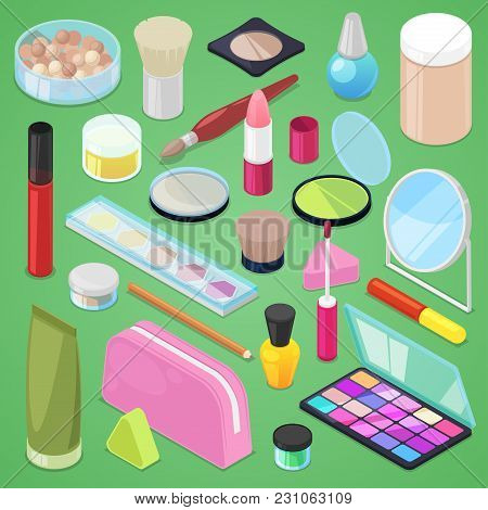 Cosmetic Vector Beauty Make Up Cosmetology For Beautiful Woman With Makeup Foundation Powder Or Eyes