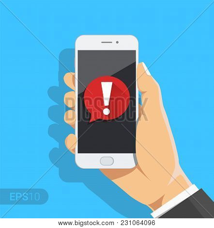 Phone Notifications, New Message Received Concepts. Hand Holding Smartphone With Speech Bubble And E