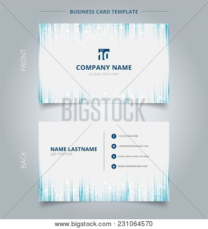 Creative Business Card And Name Card Template Blue  Vertical Lines Pattren With Sparkle Background.
