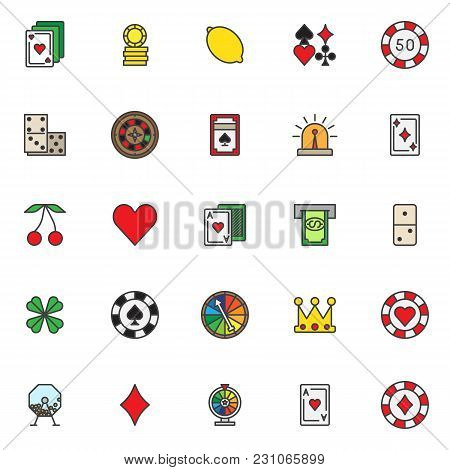 Casino Gambling Filled Outline Icons Set, Line Vector Symbol Collection, Linear Colorful Pictogram P