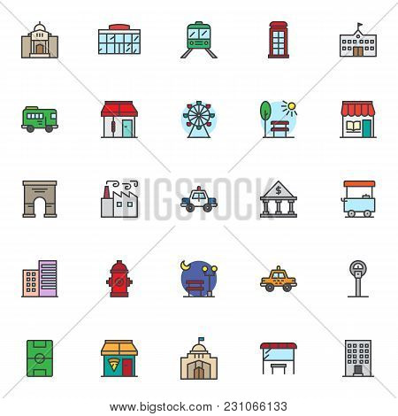 City Landmarks Filled Outline Icons Set, Line Vector Symbol Collection, Linear Colorful Pictogram Pa
