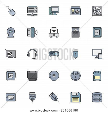 Computer Device Elements Filled Outline Icons Set, Line Vector Symbol Collection, Linear Colorful Pi