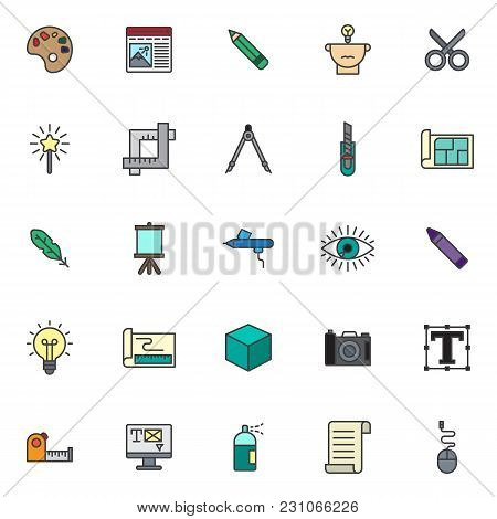 Drawing Tools Filled Outline Icons Set, Line Vector Symbol Collection, Linear Colorful Pictogram Pac