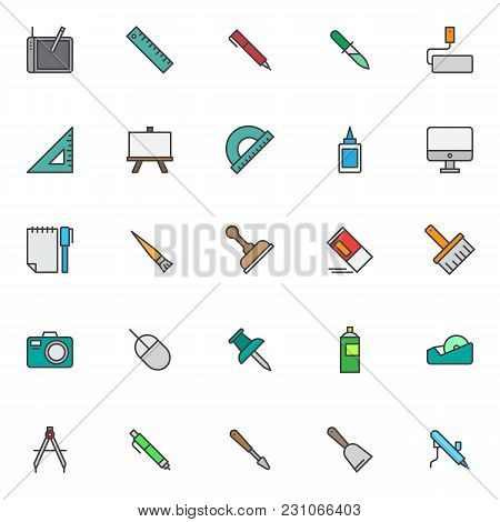 Design Tools Filled Outline Icons Set, Line Vector Symbol Collection, Linear Colorful Pictogram Pack