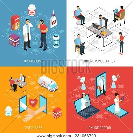 Online Virtual Doctor Consultation Quick Diagnosis And Medication Choice Concept 4 Isometric Icons S