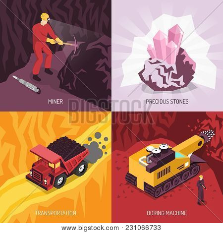 Gems Precious Stones Mining 4 Icons Conceptual Square  Composition With Boring Machine And Transport