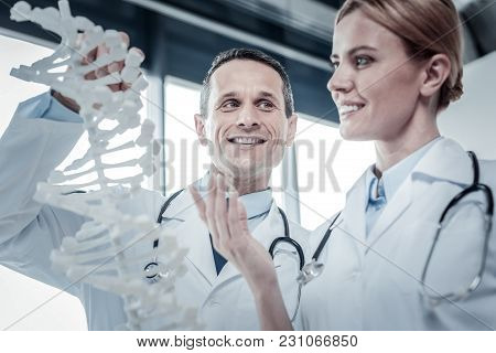 New Experience. Pleasant Skilled Handsome Doctor Standing In The Bright Room Holding Dna Model And L