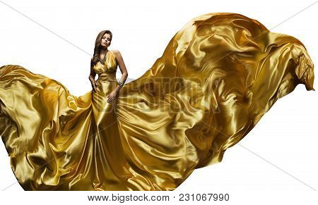 Fashion Model Golden Fly Dress, Elegant  Woman In Fluttering Gold Gown, Beautiful Girl And Silk Fabr