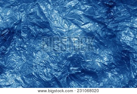 Plastic Bag Texture In Navy Blue Color. Abstract Background And Texture For Design.