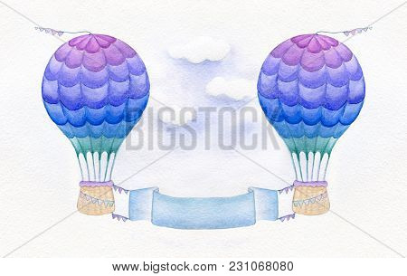 Colorful Hot Air Balloon Isolated On White Background. Watercolor Illustration. Perfect For Invitati