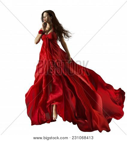 Fashion Model In Red Dress, Beautiful Woman Portrait, Waving Gown Fabric Fly Through Air, Girl White