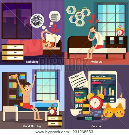 Sleep Disorder Orthogonal Flat Design Concept With Night Rest Problem, Heavy And Healthy Awaking Iso