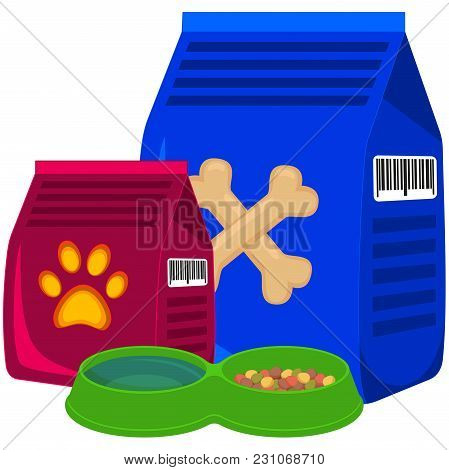 Colorful Cartoon Pet Food Poster. Pet Care Themed Vector Illustration For Gift Card, Flyer, Certific
