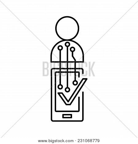 Verification Icon. Outline Illustration Of Verification Phone Vector Icon For Web And Advertising