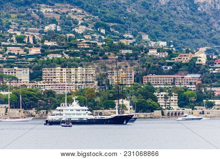 A Huge Yacht Moored Off The Coast Of Villefranche France