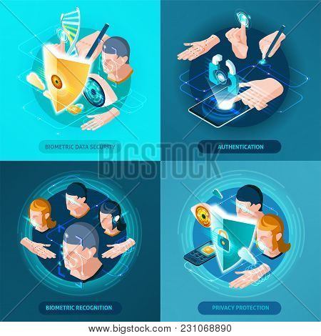 Biometric Recognition Authentication Data Security And Privacy Protection Concept 4 Isometric Icons