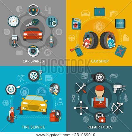 Flat Design Tire Service Equipment Car Spares And Shop Items 2x2 Set On Colorful Background Isolated