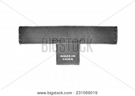 Textile Clothes Label Lettered Made In China Isolated Over White