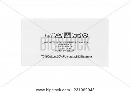 Content And Care Clothes Label On White Background