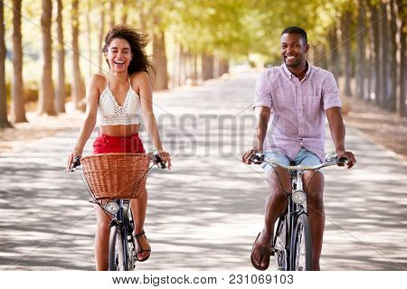 Young mixed race couple riding bicycles on a tree lined road