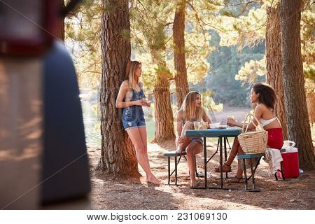 Three female friends hanging out and talking by a lake