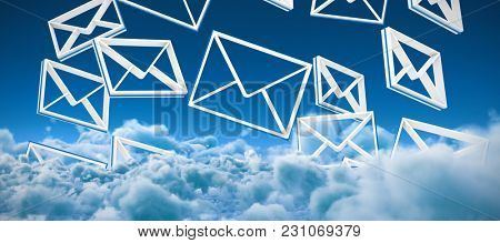 Multiple message symbols against idyllic view of white cloudscape against sky