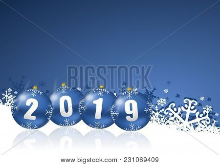 New year 2019 holiday illustration with christmas balls on white and blue snowflakes background