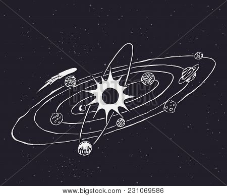 Solar System.planets And Sun.hand Drawn Doodle Design.vector Illustration