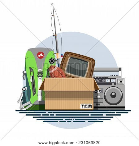 Illustration Of A Cardboard Box With Old Things In A Flat Style. Box With Old Stuff Vector. Tourist