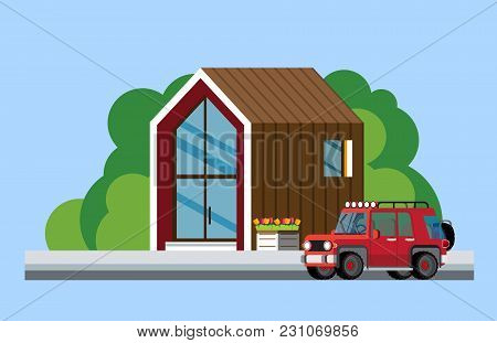 Modern House. Family Home. Modern House Along The Road. Parked Car Near The Modern House. Flat Style