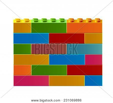 Colorful Wall. Constructor. Building Blocks Toys. Colorful Building Blocks Toys. Isolated On White B