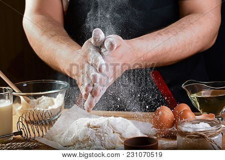 Baker Sprinkle The Dough With Flour Bread, Pizza Or Pie Recipe Ingredients With Hands, Food On Kitch