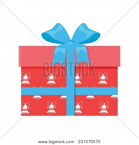 Gift Box With Decorative Drawing On Wrapping Paper, Red Box And Blue Ribbon Vector Illustration Isol