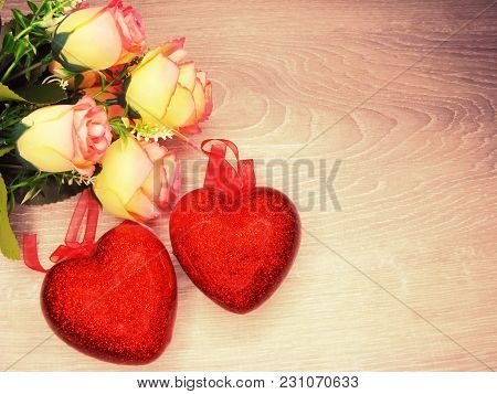 Hearts And Rose Flowers Greeting Card Valentine's Day Love Holiday Concept Background