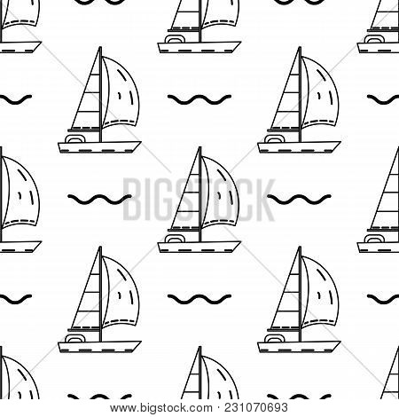 Seamless Pattern With Sailing Ship In Thin Line Stile. Vector. For Yacht Club, Travel Agency, Broshu
