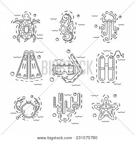 Vector Set Of Sea Animals And Equipment For Diving, Made In Modern Thin Line Stile On White Backgrou