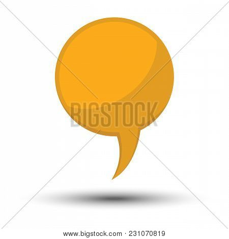 Yellow Cartoon Comic Balloon Speech Bubble Without Phrases And With Shadow. Vector Illustration.