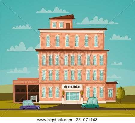 Office Building Facade. Buisness Concept. Exterior Of House. Cartoon Vector Illustration. For Web Or