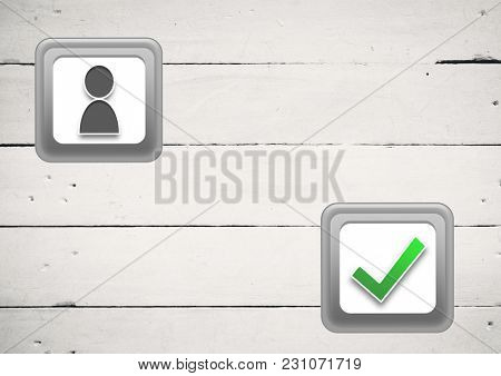 Digital composite of user profile and correct tick button on white wood