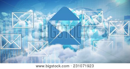 Multiple message symbols against global business graphic in blue