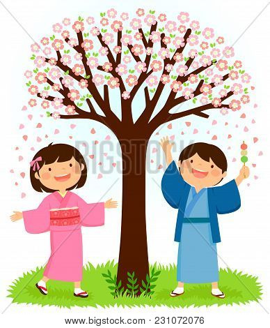 Japanese Children In Traditional Kimonos Standing Under A Blooming Cherry Tree. The Boy Is Holding D