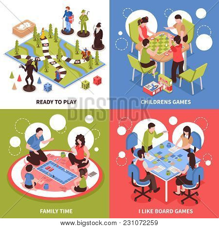 Isometric Design Concept With Kids Playing Board Games, Family Pastime, Desktop Field With Pieces Is