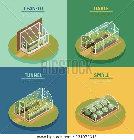 Greenhouses Conservatory Varieties 4 Isometric Icons Square With Glasshouse Cable Supported Greenery