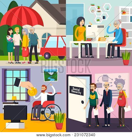Social Security Orthogonal Design Concept With Family Protection, Retirement Welfare, Disability And