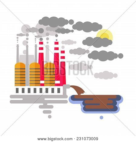 Ecology Problem Concept. Factory Pollutes The Enviroment. Plant Emitting Smoke. Flat Vector Illustra