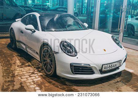 Porsche White 911 Carrera 4s. Russia, Saint-petersburg 02 March 2018