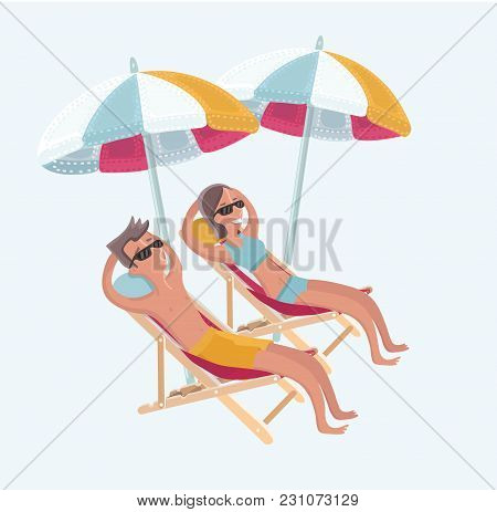 Vector Cartoon Funny Illustration Of Couple Sitting On The Deck Chairs At The Sea Under Umbrellas Lo