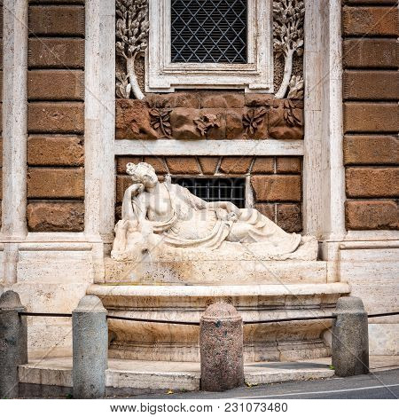 Rome, Italy - April 14, 2017: Goddess Diana Sculpture At Crossing Of Quattro Fontane.